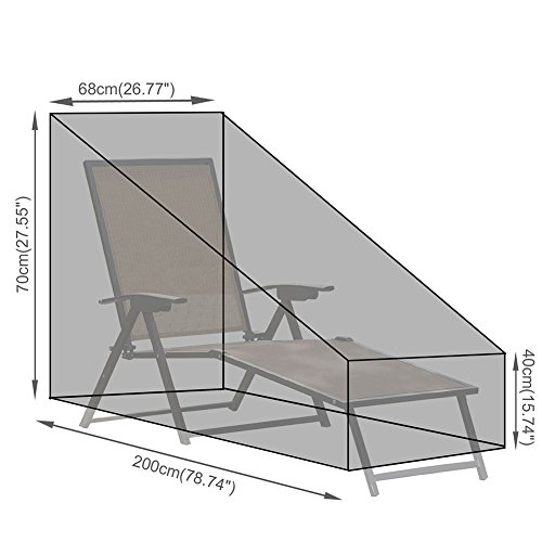 Lembeauty Sun Lounger Deck Chair Cover Tarpaulin Outdoor Patio Furniture Set Waterproof Protection For Wooden Rattan Sunbed