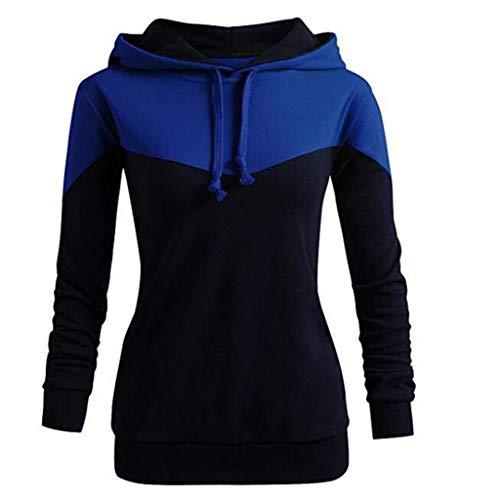 MOTOCO Damen Langärmliges Kapuzenpullover für Frauen. Kontrastfarbener Reißverschluss mit Kordelzug und Kapuzenoberteil(L,Blau)