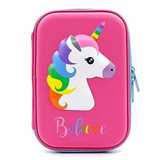 Soocute Grande trousse licorne pour enfants avec plusieurs compartiments Motif mignon en relief brillant Pour crayons, maquillage rose vif
