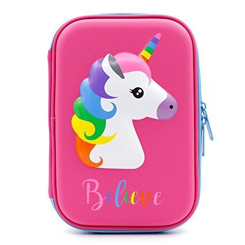 Astuccio con grazioso unicorno in rilievo, con parte superiore rigida, per bambini, grande, per matite, penne e cancelleria, con compartimenti multipli, anche per cosmetici per bambine Hot Pink