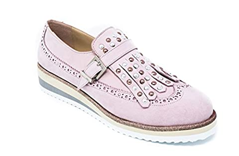 BOBERCK Peyton Collection Women's Leather Oxfords With Trendy Fringe (9 US, Pink)