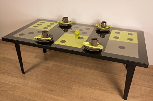 Styl'Métal 21 Table Dés 200x100 métal noir, taupe et vert anis