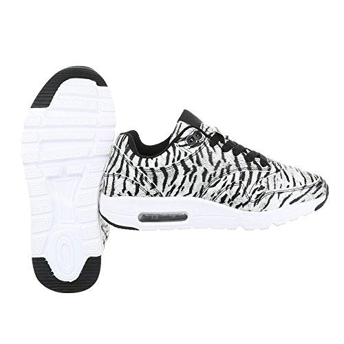 Ital-Design, Sneaker donna Weiß Schwarz KT946ORO