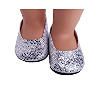 Prevently New Cute Bling Bling Silver Bownot Shoes Glitter Doll Shoes Dress Shoe ACCY For 18 inch Our Generation American Girl Doll Party Dress (Sliver)