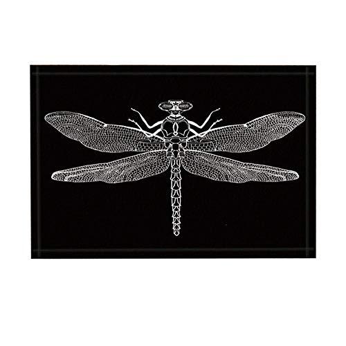 GzHQ Insekt Probe Dekor Bad Teppich Kreativität schwarz und weiß Libelle rutschfeste Fußmatte Boden Eingänge Indoor Haustür Matte Badezimmer Teppiche Memory Foam Kids Badematte 15.7x23.37in