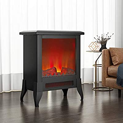 fam famgizmo 1800W Electric Fireplace Stove Heater,Adjustable Thermostat & Brightness,2 Heating Set,LED Log Fire Flame Effect,Freestanding & Portable with Overheat Protection