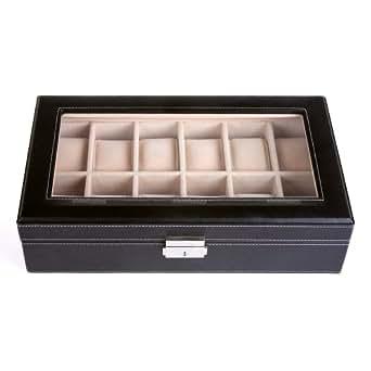 verygood4u Présentoir/coffret/boîte à montre 12 montres Noir coffret de rangement bijoux et accessoires - Beige intérieur