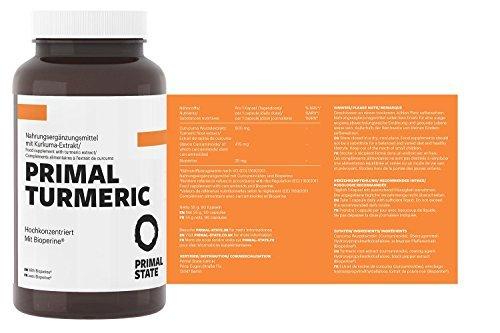 Kurkuma Kapseln Hochdosiert | PRIMAL TURMERIC | Hochdosiertes Curcuma + Bioperin (Schwarzer Pfeffer Extrakt) | Premium Kurkumin ohne Zusatzstoffe | Laborgeprüft | 3 Monatspackung - 90 vegane Kapseln (Ingwer Bio-orange)