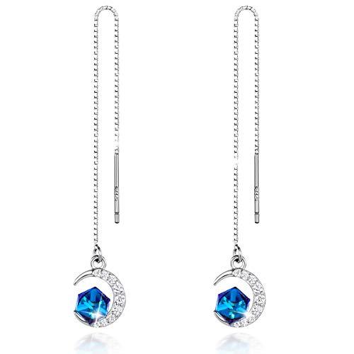 CRYSLOVE 925 Sterling Silber Ohrringe für Frauen Süße Mini Blue Crystal Moon Anhänger Ohrring Nadel Drop Threader Ziehen Sie durch Ohrringe ★ Beste Wahl für Muttertag!