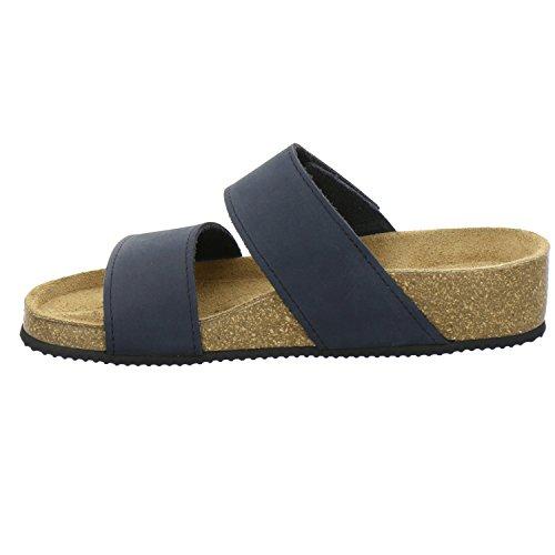 AFS-Schuhe 2745B, Pantolette Damen Komfort, bequeme Hausschuhe, hochwertiges. echtes Leder, Made in Germany Navy