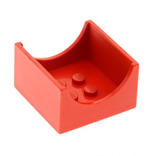 Bausteine gebraucht 1 x Lego System Fabuland Container rot Sitz Box mit Halbkreis Ausschnitt für Set Fahrzeug Auto Micky Maus 3625 3680 3682 4164 4178 4167 4165 4461