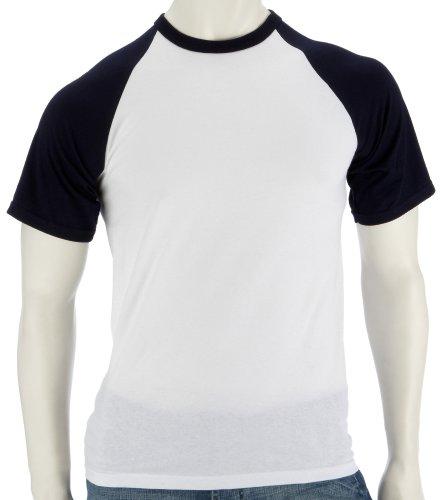 Fruit of the Loom Baseball T-Shirt weiss/dunkelblau