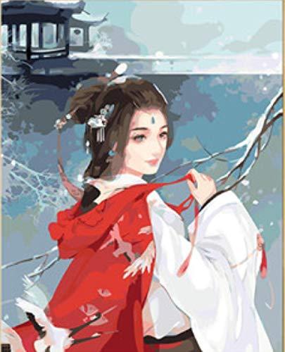 Alte Kostüm Das Shanghai - srtyu Digitale Malerei DIY handgemalte Ölgemälde Alten Kostüm Hanfu handgemalte Färbung Bild Mädchen Schlafzimmer zurück Lächeln