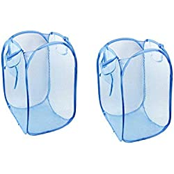 2 pcs à Linge Pliable en Maille Filet Transparente Pop Up Panier à Linge avec poignées de Transport renforcées Sale Vêtements Support Pliable Housse à vêtements Panier à Linge Bleu (Grande Taille)
