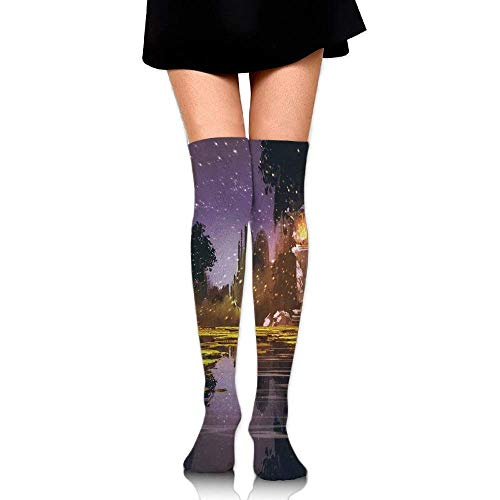 OQUYCZ Womans Idyllic Scenery at Night with A Stone Lantern Fireflies and Forest Trees Swamp Comfortable High Boot Socks