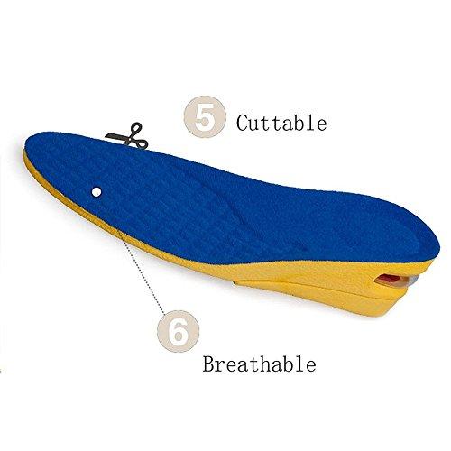 2 Layer Unsichtbar Größenwachstum Schuhe Einlegesohlen, Verstellbare Comfort Heels Einsätze für Männer und Frauen, Verbessern Ihr Vertrauen den Ganzen Tag Blau L (29cm) Blau