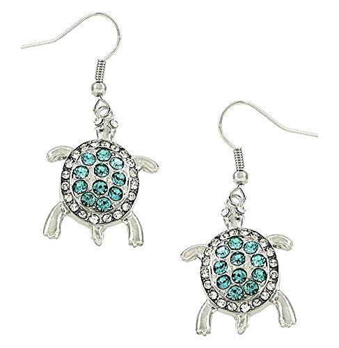 Tono plateado diseño de tortuga azul Crystal Charm Dangle Pendientes Regalo Para Las Mujeres y