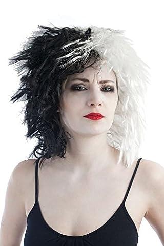 P'TIT CLOWN - 30720 - Perruque Cruella - Taille Unique - Noir/Blanc
