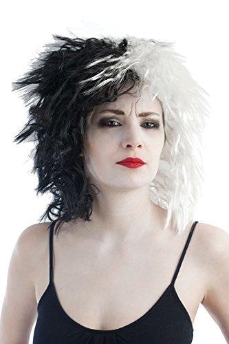 P'tit Clown-30720-Cruella-Perücke-Einheitsgröße-Schwarz/Weiß (Weiße Clown Perücke)