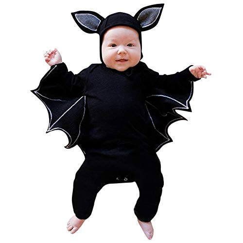 Fledermaus Baby Vampir Kostüm - Kobay Kleinkind Neugeborenes Baby Jungen Mädchen Halloween Cosplay Kostüm Fledermaus Ärmel Strampler Hut Outfits Set(0-6M,Schwarz)