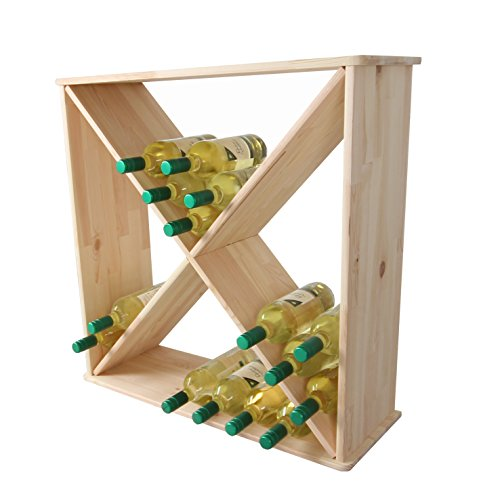 Lenmar Weinregal/Flaschenregal System Cube X XXL für 72 FL. 0,7l oder 60 FL. 1,0l, Holz Kiefer Natur, stapelbar/erweiterbar - H 75 x B 75 x T 26,5 cm