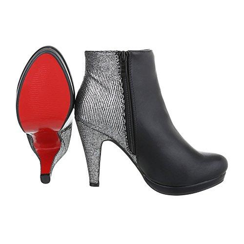 High Heel Stiefeletten Damenschuhe Schlupfstiefel Pfennig-/Stilettoabsatz High Heels Reißverschluss Ital-Design Stiefeletten Schwarz Silber