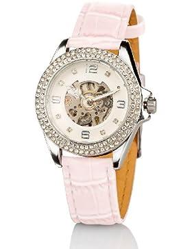 Crell Strassbesetzte Automatik-Armbanduhr für Damen, perlmutt-pink