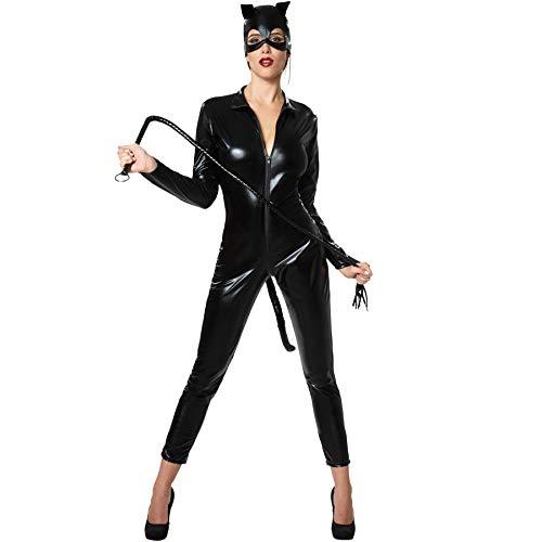 dressforfun 900474 - Damenkostüm heiße Katze, Enganliegendes Catsuit aus Kunstleder inkl. Maske (S | Nr. (Heiße Katze Kostüm)