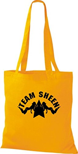 ShirtInStyle Stoffbeutel Two And A Half Man Charly Sheen Team Sheen, diverse Farbe yellow