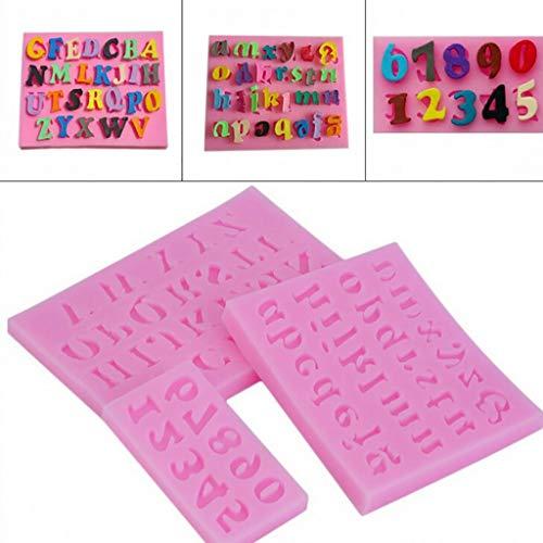 Taottao - set di 3 stampi in silicone a forma di lettere da 0 a 9