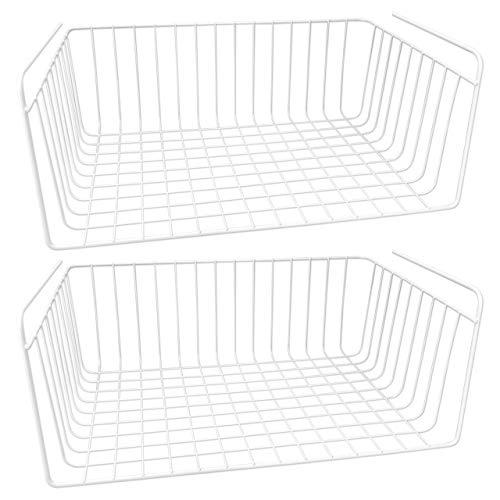Wellgro 2er Set Schrankkörbe zum Einhängen aus Metall - ca. 40 x 27 x 16,5 cm (LxBxH) - schaffen Sie zusätzlichen Platz - weiß