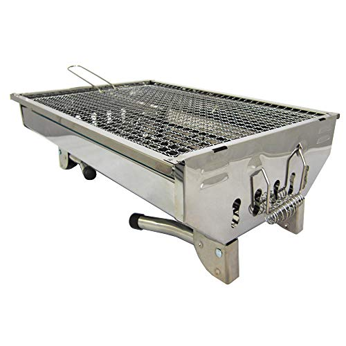 41znzCQUgSL - TMD-Line BBQ Holzkohlegrill 45 x 30cm Klappgrill Standgrill Tragbar Camping Garten Grill