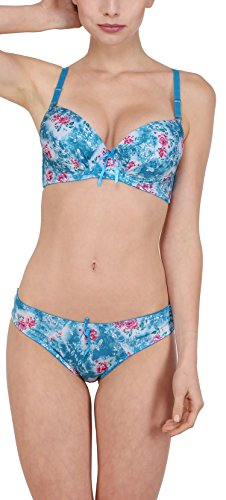 Perfect Cleavage Vibrant Roses Underwire Soft Pushup Bra & STAINLESS Bikini Cut...