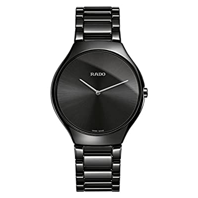 Rado Men's True Thinline 39mm Black Ceramic Band & Case Quartz Watch R27741182