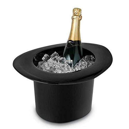 Umiwe Zylinderhut Eiskübel, Ovaler Eiskübel Champagner Weinflaschenkühler Vintage Zylinderhut Wein- und Champagnerkühler Schwarze Acrylmode Magiekappe Modellierung Club Bar Eisschock Blinking Beer -