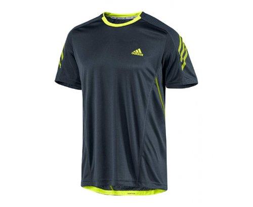 Adidas supernova t-shirt de course à manches courtes pour femme Gris - Gris foncé/jaune vif