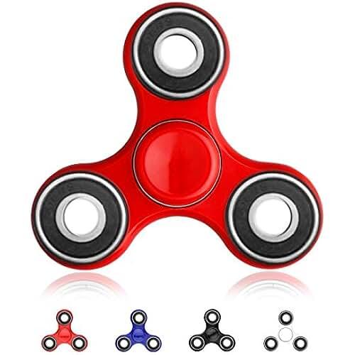 fidget spinner el nuevo juguete de moda Tri-Spinner, EVIDA Finger Spinner Fidget Juguete estrés reducir los juegos de ejercicios para adultos y niños (Rojo_L)