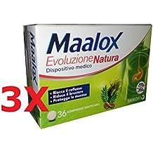 3X MAALOX EVOLUZIONE NATURA - 108 CPR Masticabili - BLOCCA REFLUSSO (Gaviscon)