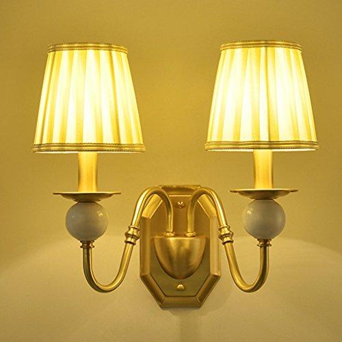 Volles Kupfer Wohnzimmer Studie Schlafzimmer Nachttisch Tuch Abdeckung Wand Lampe (größe : Double head) - Wand-lampen-schnur-abdeckungen