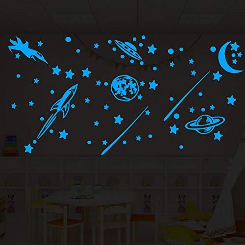 SHIFTALT Leuchtende Im Dunkeln Leuchten Sterne Mond Rcket Decals Party Home Decor Alle Aufkleber Für Zimmer Schlafzimmer Decke