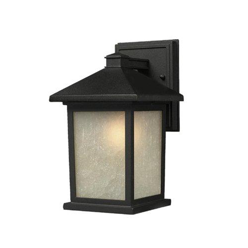 z-lite 507s-bk Holbrook Outdoor Wandleuchte, Metall Rahmen, schwarz Finish und weiß Garage Schatten von Glas Material