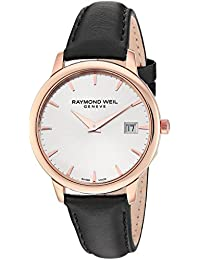 Raymond Weil Women's 'Toccata' Swiss Quartz Stainless Steel and Satin Casual Watch, Color:Black (Model: 5388-PC5-65001)