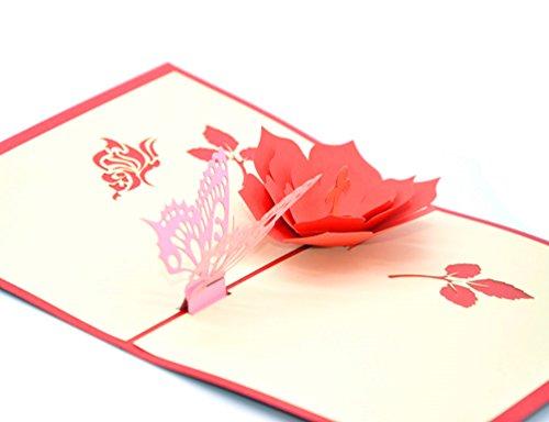 medigy 3d Pop Up Tarjetas de felicitación en blanco tarjetas para más occastions (flor y una mariposa)