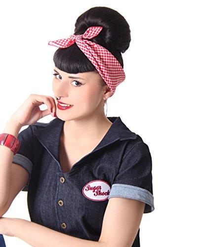 Gingham Pin up Rockabilly Hairband Frisuren Haar Tuch Nickituch Bandana, Farbe:Rot Weiss, Größe:OneSize (Einfach Pinup Haar)