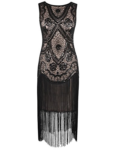 kayamiya Damen-Cocktailkleid, Flapper-/Gatsby-Kleid im Stil der 1920er-Jahre, mit -