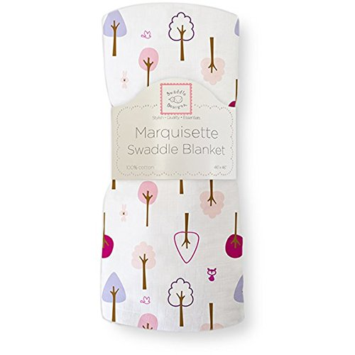 SwaddleDesigns Marquisette Swaddling Blanket, Cute & Calm (Very Berry)