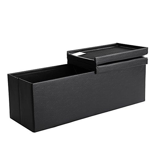 Songmics pouf cassapanca pieghevole contenitore 120 litri carico statico max. di 300 kg nero 110 x 38 x 38 cm lsf75bk