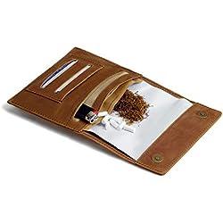 Fumio Blague à Tabac Cuir - Sacoche de Rangement pour 30 GR de Tabac à Rouler, Papier à Cigarettes, Feuilles, Filtres - Cadeau pour Femme et Homme Fumeur - Porte Tabac en Vrac en Cuir Véritable