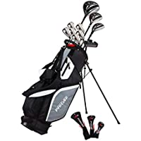 Precise M5 Men's Complete Golf Set Includes Titanium Driver, S.S. Fairway, S.S. Hybrid, S.S. 5-PW Irons, Putter, Stand Bag, 3 H/C's Right Hand (Right)