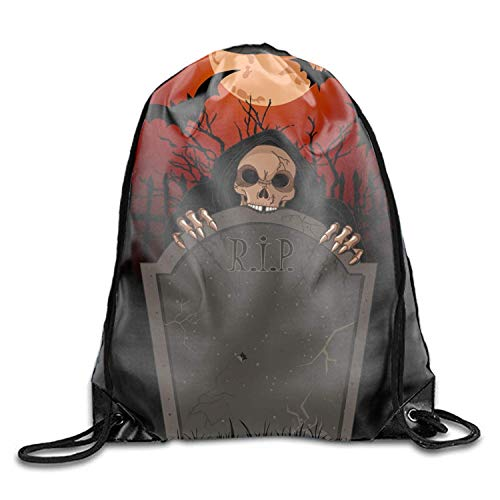 uykjuykj Tunnelzug Rucksäcke, Drawstring Backpack Sports Gym Waterproof String Bag Halloween Grim Cinch Sack Sports Sackpack Gymsack Men Women Halloween Grim5 Lightweight Unique 17x14 IN